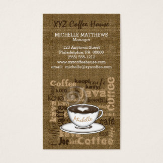 Coffee House Manager Barista Burlap Look Template