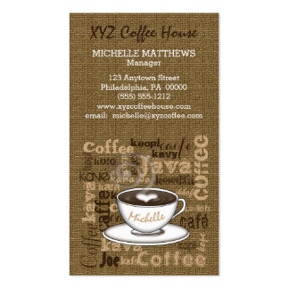 Coffee House Manager Barista Burlap Look Template Pack Of Standard Business Cards