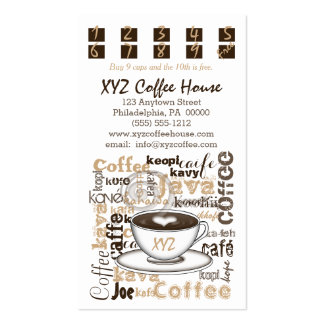 Coffee House Punch Cards Template Business Card Template
