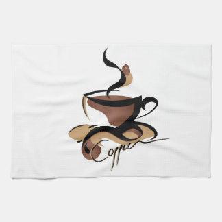 coffee illustration kitchen towel