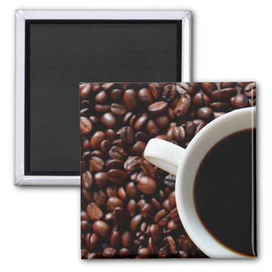 Coffee in Cup and Coffee Beans Square Magnet