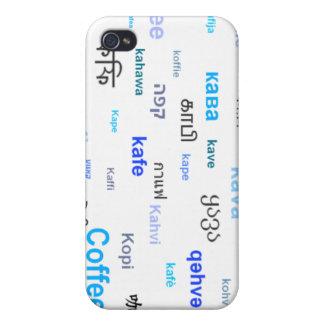 Coffee in different languages - blue iPhone 4/4S cases