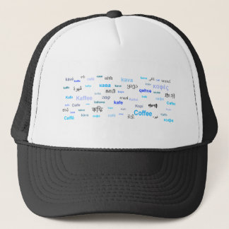 Coffee in different languages - blue trucker hat
