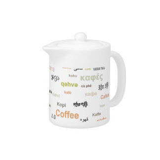 Coffee in many languages coffeepot - orange