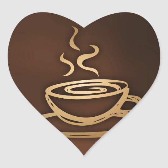 Coffee In My Cup Heart Sticker