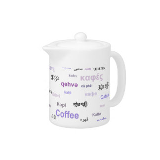 Coffee in other languages coffeepot - purple