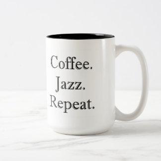 Coffee. Jazz. Repeat. (15oz mug) Two-Tone Mug