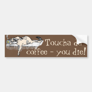 """Coffee Kitty is NOT a morning cat *ahem* """"person""""! Car Bumper Sticker"""