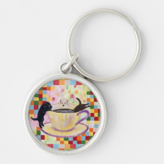 Coffee Labradors Painting Mosaic Silver-Colored Round Key Ring