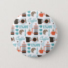 Coffee love and café pattern 6 cm round badge