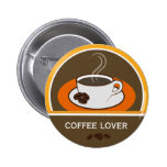 Coffee Lover Coffee Cup Coffee Beans Round Badge