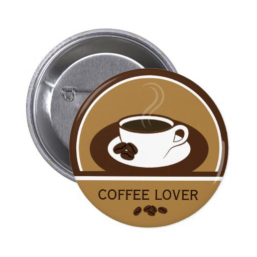 Coffee Lover Coffee Cup Coffee Beans Round Buttons Pinback Button