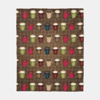 Coffee Lover Coffee Cups Fleece Blanket
