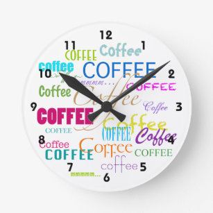 Coffee Lover-Colourful Coffee Word Cloud Round Clock