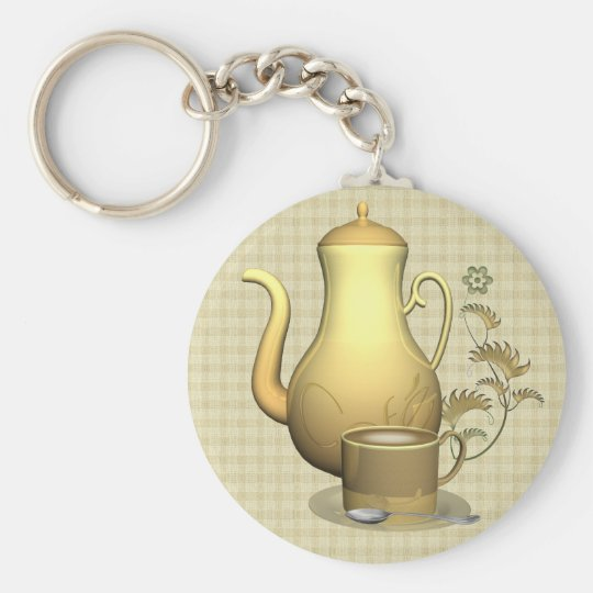 Coffee Lover Keyring Basic Round Button Key Ring