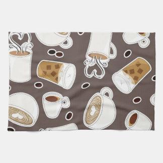 Coffee Lover Pattern Brown / Grey Hand Towel