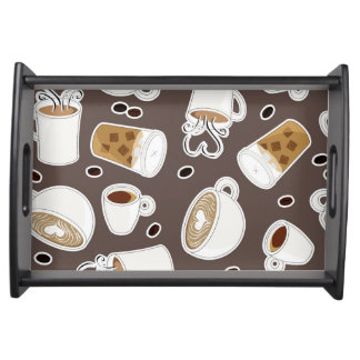 Coffee Lover Pattern Brown / Grey Serving Tray