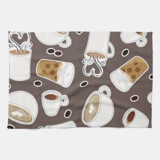 Coffee Lover Pattern Brown / Grey Tea Towel