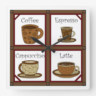 Coffee Lover Square Wall Clock