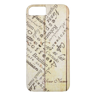 Coffee Lover Typography Art Weathered Barn Board iPhone 7 Case