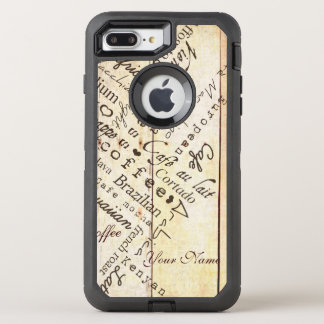 Coffee Lover Typography Art Weathered Barn Board OtterBox Defender iPhone 7 Plus Case