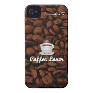 Coffee Lover, White Cup/Brown Beans iPhone 4 Case-Mate Cases