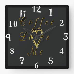 Coffee loves awake my time brewed drink square wall clock