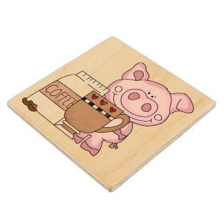 Coffee Loving Pig Wood Coaster