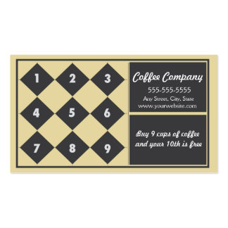 Coffee Loyalty Business Card Punch Card