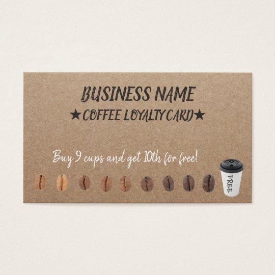 Coffee Loyalty Punch Cards Rustic Kraft