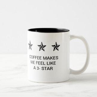 COFFEE MAKES ME FEEL LIKE A 3-STAR Two-Tone COFFEE MUG