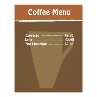 Coffee Menu 21.5 Cm X 28 Cm Flyer