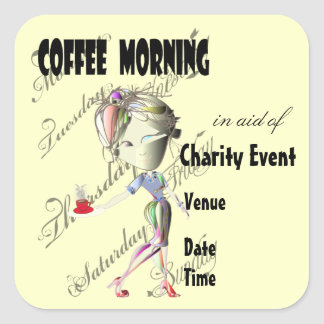 Coffee Morning Event Square Sticker