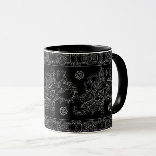 COFFEE MUG BLACK PAISLEY BOARDER DESIGN PATTERN