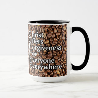 "Coffee Mug""Christ Offers Forgiveness"" Reverse Mug"
