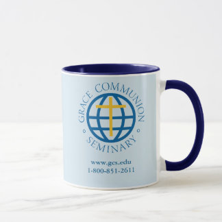 coffee mug, dark blue interior and handle mug