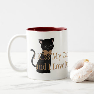 Coffee Mug-I Kiss My Cat and I Love It Two-Tone Coffee Mug