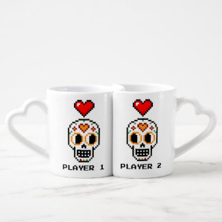 Coffee Mug Set: 8-Bit Day of the Dead Lovers