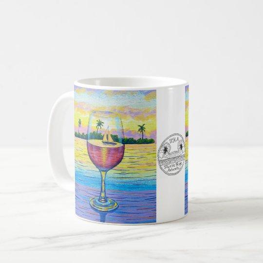 Coffee Mug, Wine Glass at Sunset Coffee Mug