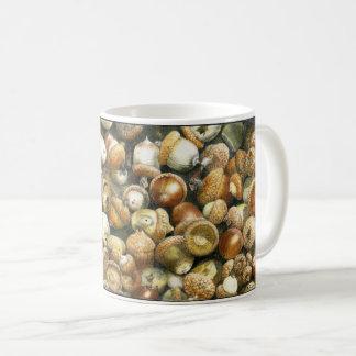 Coffee Mug with a field of fallen Acorns