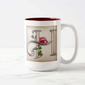 Coffee Mug with Gorgeous Ornate Initial H
