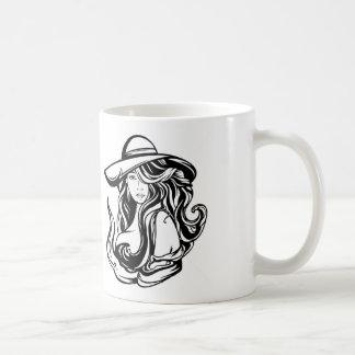 Coffee mug with long haired woman