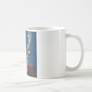 Coffee mug with lovely red deer on blue background