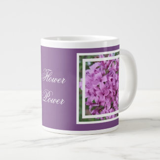 coffee mug with purple flowers