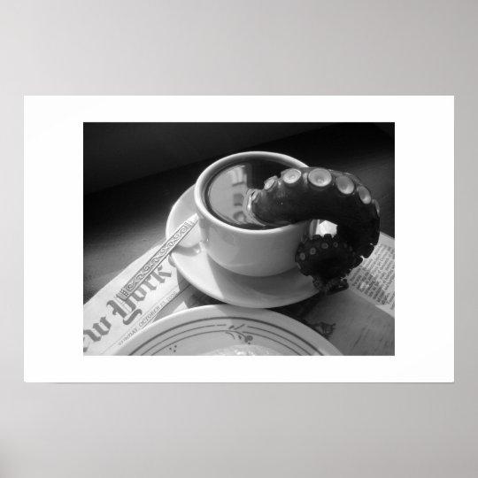 Coffee mug with tentacle poster