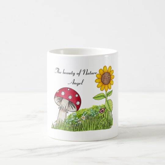 Coffee Mug with Toadstool and Sunflower