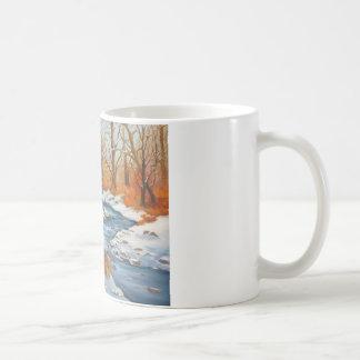 Coffee Mug with winter brook scene