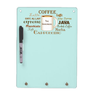 Coffee Names Aqua Personalized Dry Erase Board