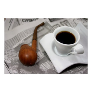 Coffee, newspaper, and a pipe poster
