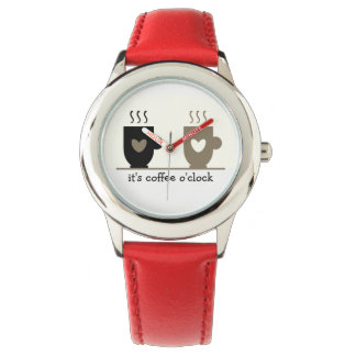 Coffee O'Clock Red Funny Trendy Love Cups Chic Watch